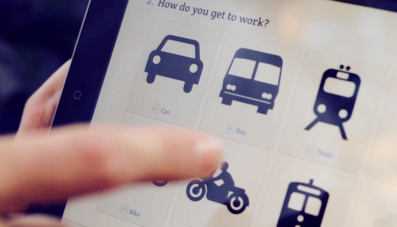 Screenshot from the preview video on the Typeform website. The application offers users a set of images to choose from.