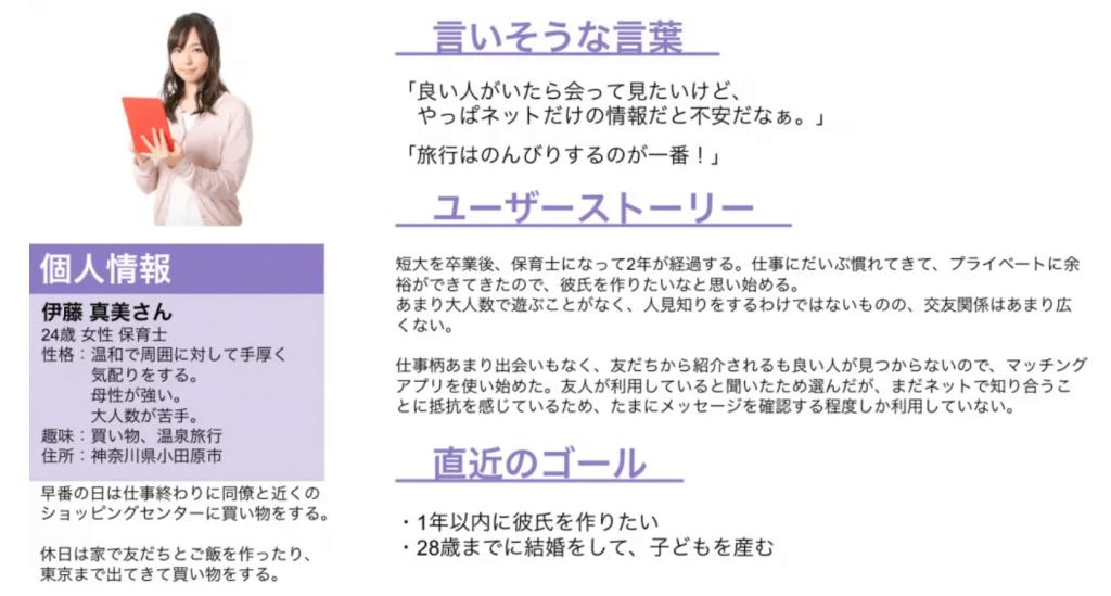 恋愛・婚活マッチングサービスのペルソナ作成例