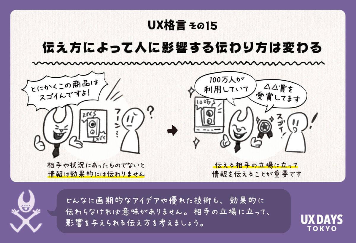 UX格言その15 伝え方によって人に影響する伝わり方は変わる