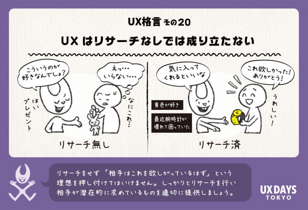 UX格言20 UXはリサーチなしでは成り立たない