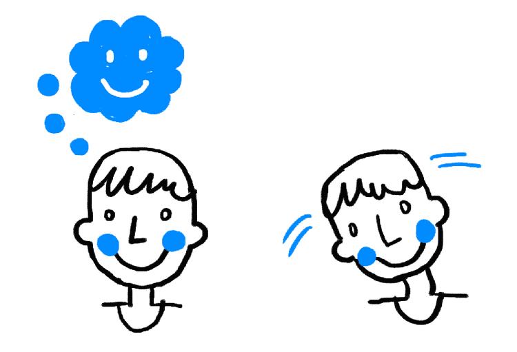 楽しいことを思い描いている男性と、頭を左右に振っている男性