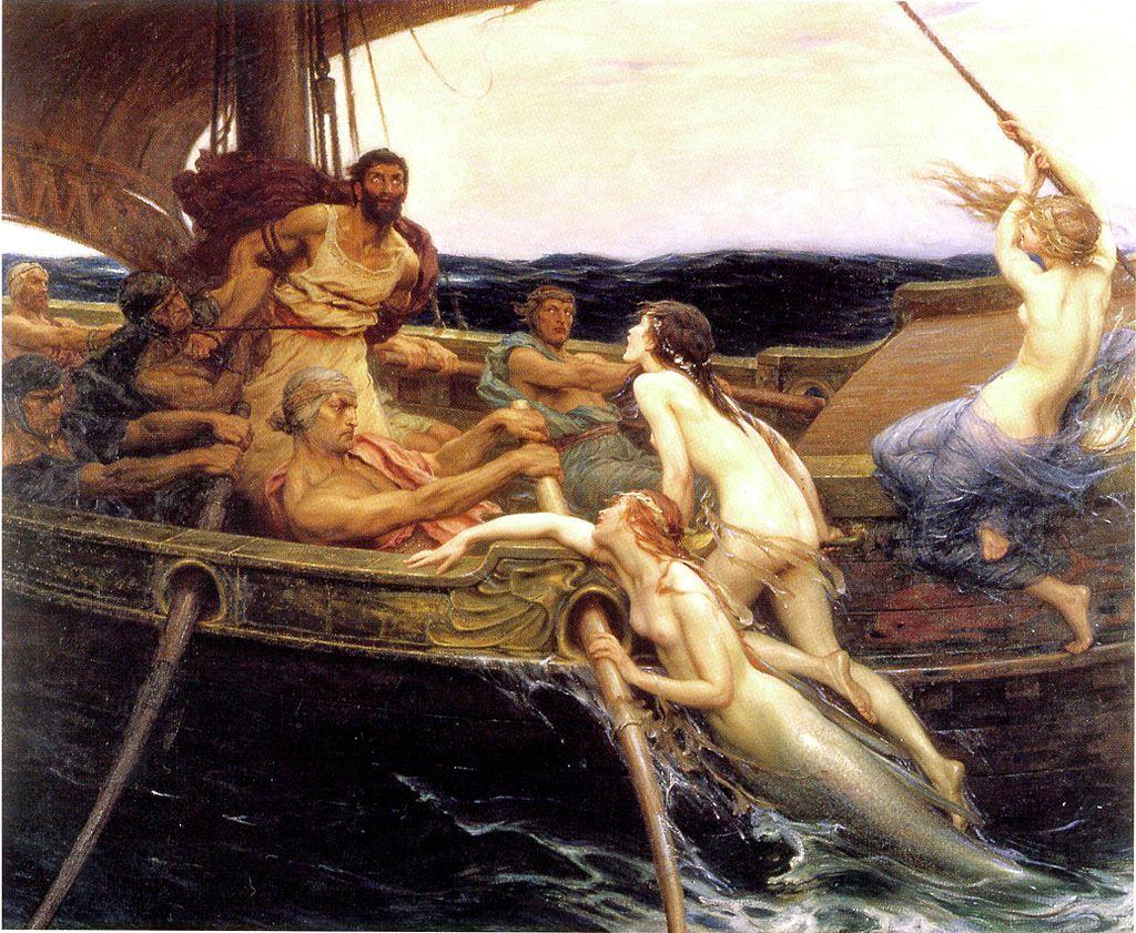 セイレーンの歌声の魅了に抗うマストに縛り付けられたオデュッセウス