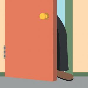 ドアに足を挟む